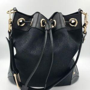 Authentic GUCCI Black Signature GG Bucket Bag